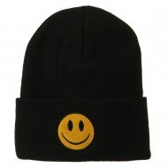 Smiley Face Embroidered Long Beanie - Black