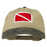 Scuba Dive Flag Embroidered Washed Pigment Dyed Cap - Black Khaki