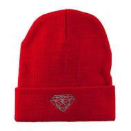 Small Diamond Embroidered Long Beanie - Red