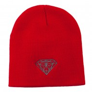 Small Diamond Embroidered Short Beanie - Red