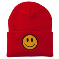 Smiley Face Embroidered Long Beanie - Red