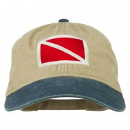 Scuba Dive Flag Embroidered Washed Pigment Dyed Cap - Navy Khaki