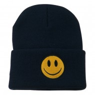 Smiley Face Embroidered Long Beanie - Navy
