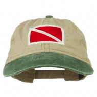 Scuba Dive Flag Embroidered Washed Pigment Dyed Cap - Green Khaki