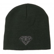 Small Diamond Embroidered Short Beanie - Olive