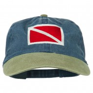 Scuba Dive Flag Embroidered Washed Pigment Dyed Cap - Khaki Navy