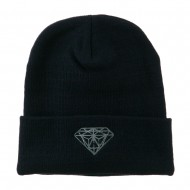 Small Diamond Embroidered Long Beanie - Navy