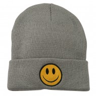 Smiley Face Embroidered Long Beanie - Lt Grey