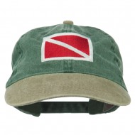 Scuba Dive Flag Embroidered Washed Pigment Dyed Cap - Khaki Green