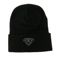 Small Diamond Embroidered Long Beanie - Black