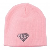 Small Diamond Embroidered Short Beanie - Pink
