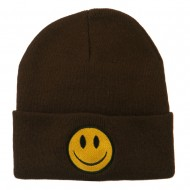 Smiley Face Embroidered Long Beanie - Brown