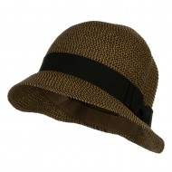 Women's Paper Braid Cabbie Cloche - Brown