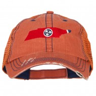 Tennessee State Map Flag Embroidered Low Profile Cotton Mesh Cap - Orange