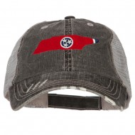 Tennessee State Map Flag Embroidered Low Profile Cotton Mesh Cap - Black