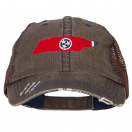 Tennessee State Map Flag Embroidered Low Profile Cotton Mesh Cap - Brown