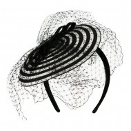 Swirl Pattern Fascinator Hat with Headband - White Black