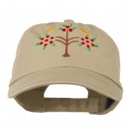 Swiss Folk Art with Birds and Tree Embroidered Cap - Khaki