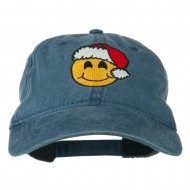 Smiley Face Santa Embroidered Washed Cap - Navy