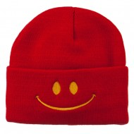 Happy Smiley Face Embroidered Knit Beanie - Red