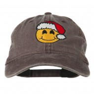 Smiley Face Santa Embroidered Washed Cap - Brown
