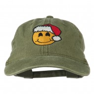 Smiley Face Santa Embroidered Washed Cap - Olive
