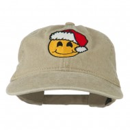 Smiley Face Santa Embroidered Washed Cap - Khaki
