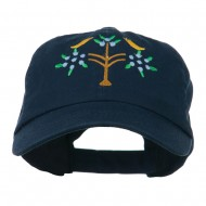 Swiss Folk Art with Birds and Tree Embroidered Cap - Navy