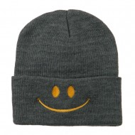 Happy Smiley Face Embroidered Knit Beanie - Grey
