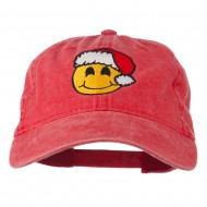 Smiley Face Santa Embroidered Washed Cap - Red