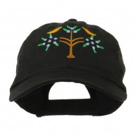 Swiss Folk Art with Birds and Tree Embroidered Cap - Black