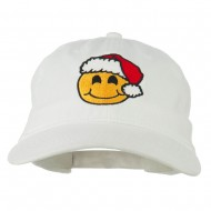 Smiley Face Santa Embroidered Washed Cap - White