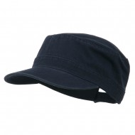 Garment Washed Adjustable Army Cap - Navy