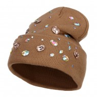 Stones Accented Cuff Long Beanie - Stone