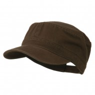 Garment Washed Adjustable Army Cap - Dk Brown