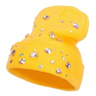 Stones Accented Cuff Long Beanie - Yellow