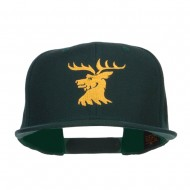 Stag Emblem Embroidered Snapback Cap - Spruce