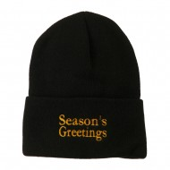 Season's Greetings Embroidered Long Beanie - Black