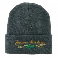 Seasons Greetings with Mistletoe Embroidered Long Beanie - Grey
