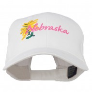 USA State Nebraska Goldenrod Embroidered Low Profile Cap - White