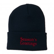 Season's Greetings Embroidered Long Beanie - Navy