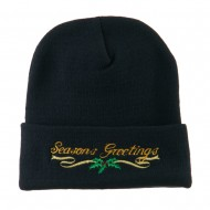 Seasons Greetings with Mistletoe Embroidered Long Beanie - Navy