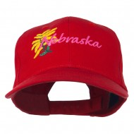 USA State Nebraska Goldenrod Embroidered Low Profile Cap - Red