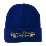 Seasons Greetings with Mistletoe Embroidered Long Beanie - Royal
