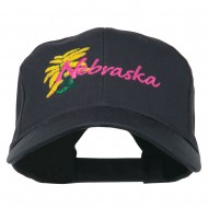 USA State Nebraska Goldenrod Embroidered Low Profile Cap - Navy