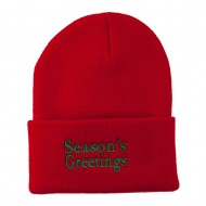 Season's Greetings Embroidered Long Beanie - Red