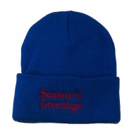 Season's Greetings Embroidered Long Beanie - Royal