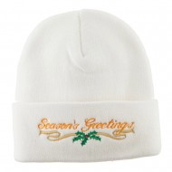 Seasons Greetings with Mistletoe Embroidered Long Beanie - White