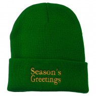 Season's Greetings Embroidered Long Beanie - Kelly
