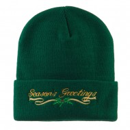 Seasons Greetings with Mistletoe Embroidered Long Beanie - Green